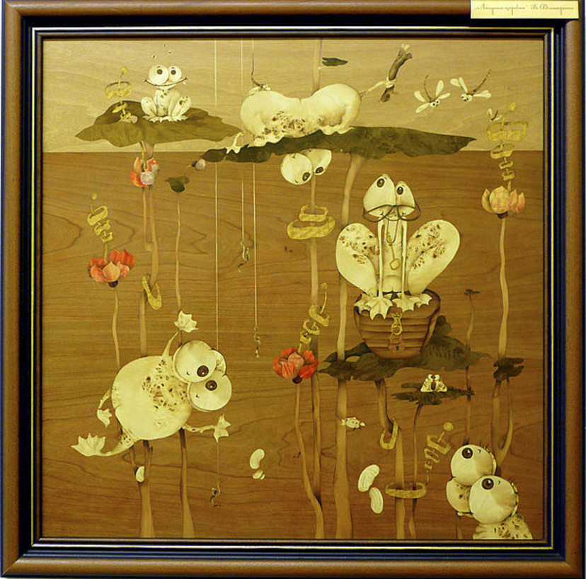 Картина Царевна-Лягушка. Картина выполнена из дерева в технике