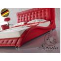 Кожаная кровать. Красный, белый, коричневый цвет. Стили хай-тек, модерн, минимализм.